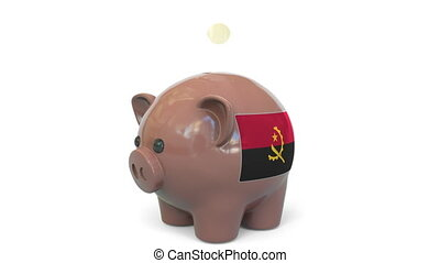 Putting money into piggy bank with flag. Conceptual 3D