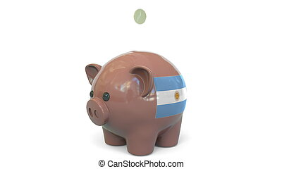 Putting money into piggy bank with flag of Argentina. Tax system system or savings related conceptual 3D rendering