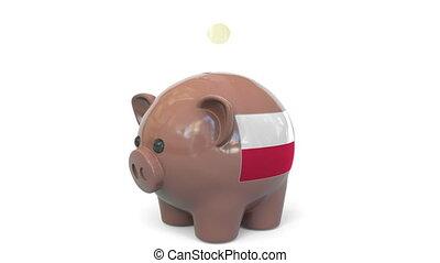Putting money into piggy bank with flag. Conceptual 3D