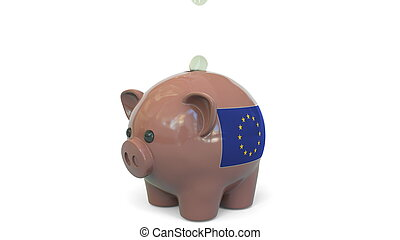 Putting money into piggy bank with flag of the European Union. EU banking system or savings related conceptual 3D rendering
