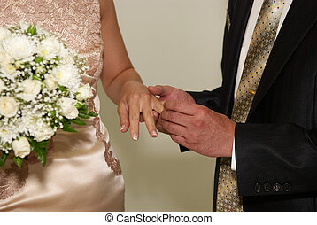 putting on a wedding ring