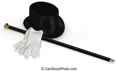Putting on the Ritz - Top hat, white gloves and black cane...