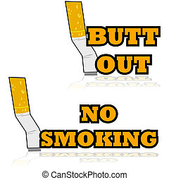 Putting out a cigarette - Cartoon illustration showing a...