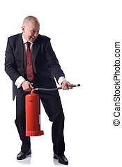 Putting out fires - Businessman with fire extinguiser...