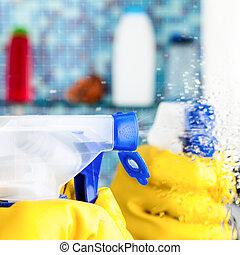 badezimmer putzen spiegel sch ne badezimmer frau wischmop gummihandschuh putzen spiegel. Black Bedroom Furniture Sets. Home Design Ideas