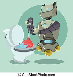 putzen roboter stil besen roboter karikatur retro vektor suche clipart illustration. Black Bedroom Furniture Sets. Home Design Ideas