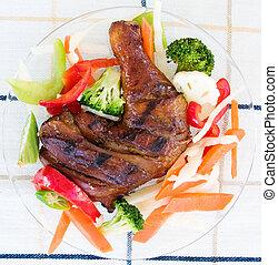 puxão, galinha, legumes