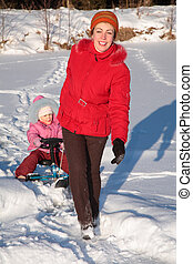 puxa, scooter, filha, neve, mãe