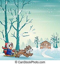 puxado, neve, montando, trenó, dois, cachorros, caricatura, menino