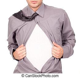 puxando, atraente, t-shirt, seu, homem, jovem