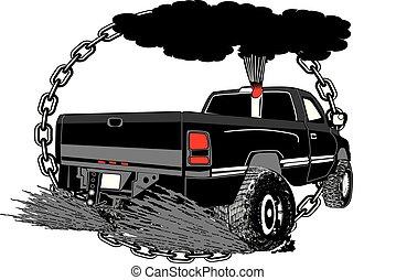 puxando, caminhão, para, canstock, [converted].eps