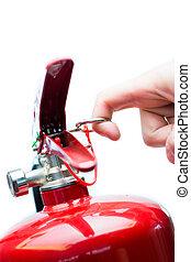 puxando, fogo, mão, extintor, alfinete segurança