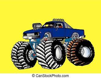puxando, super, caminhão