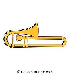 puzon, instrument, muzyczny, sketch., odizolowany