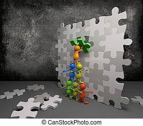 puzzel, 3d, gemeinschaftsarbeit, leute