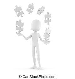 puzzel, 3d, spielende , mann, stücke