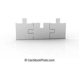 puzzel, aus, weißer hintergrund