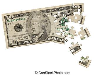 puzzel, banknote, dollar, zehn