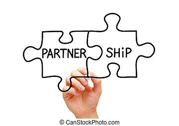 puzzel, begriff, partnerschaft