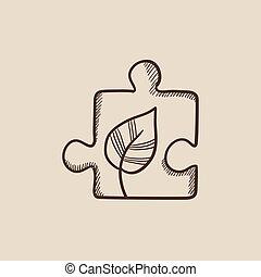 puzzel, blatt, skizze, icon.