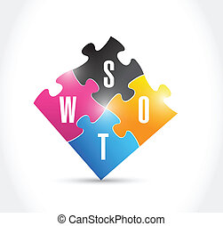 puzzel, design, abbildung, swot