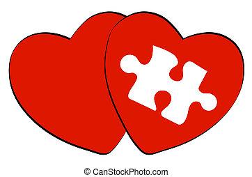 puzzel, eins, herzen, weißes, zwei, rotes , form