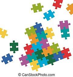 puzzel, färbte hintergrund, stücke