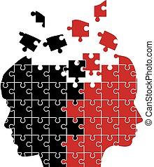 puzzel, frau, mann