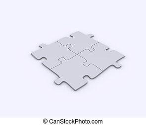 puzzel, freigestellt, stücke