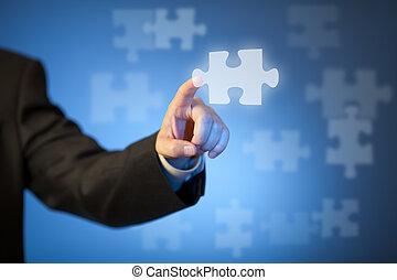 puzzel, geschäftsmann, hand, berühren, stück, abstrakt