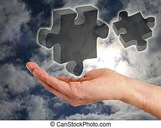 puzzel, hand