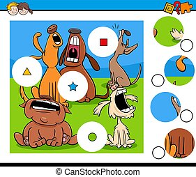 puzzel, heulen, streichholz, charaktere, stücke, hund