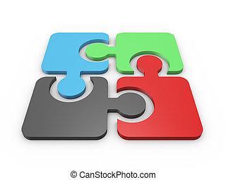 puzzel, integriert, stücke