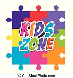 puzzel, kinder, etikett, zone, stücke