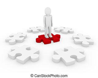 puzzel, kreis, menschliche , 3d
