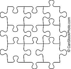 puzzel, leer, stücke