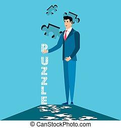 puzzel, mann, geschaeftswelt, stücke