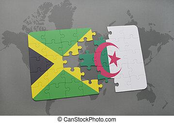 puzzel, mit, der, nationales kennzeichen, von, jamaika, und, algerien, auf, a, weltkarte
