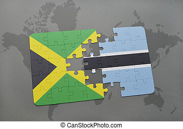 puzzel, mit, der, nationales kennzeichen, von, jamaika, und, botswana, auf, a, weltkarte