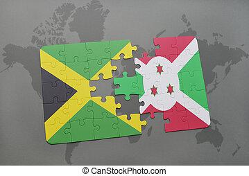 puzzel, mit, der, nationales kennzeichen, von, jamaika, und, burundi, auf, a, weltkarte