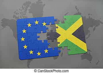 puzzel, mit, der, nationales kennzeichen, von, jamaika, und, european union, auf, a, weltkarte