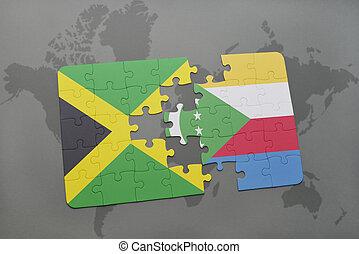 puzzel, mit, der, nationales kennzeichen, von, jamaika, und, komoren, auf, a, weltkarte