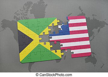 puzzel, mit, der, nationales kennzeichen, von, jamaika, und, liberia, auf, a, weltkarte