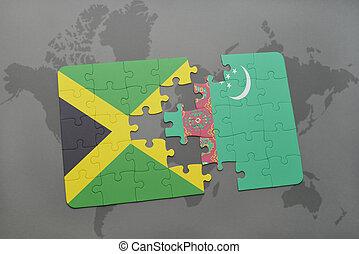 puzzel, mit, der, nationales kennzeichen, von, jamaika, und, turkmenistan, auf, a, weltkarte