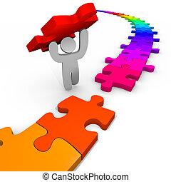puzzel, -, person, hebt, ort, stück