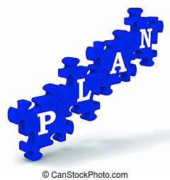 puzzel, planung, ausstellung, geschäftsplan