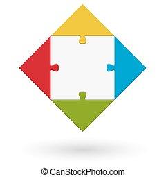 puzzel, quadrat, -
