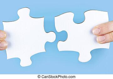 puzzel, stichsaege, finger, besitz, stücke