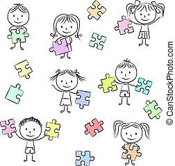puzzel, stichsaege, spielende , kinder