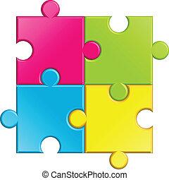 puzzel, vektor, abbildung